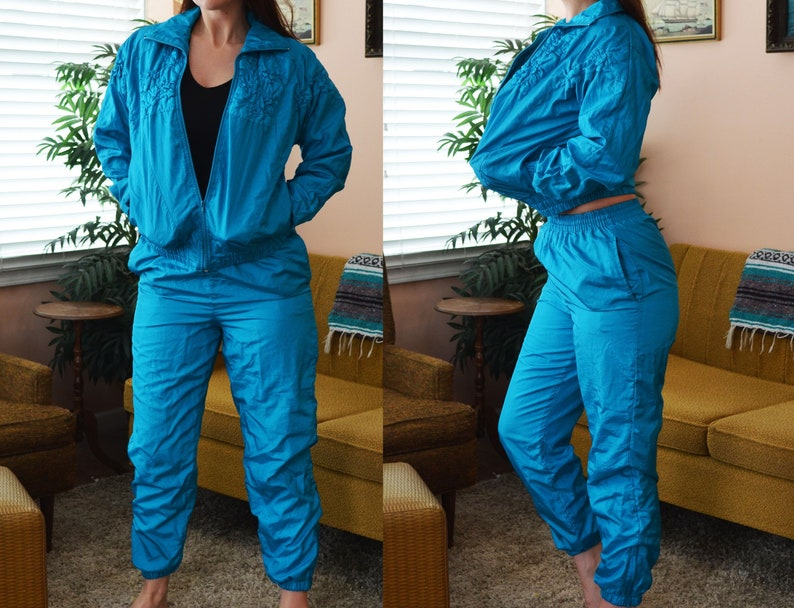49b4fd2f39808c Vintage Blue Two-Piece Windbreaker Sweatsuit Bay Waters | Etsy
