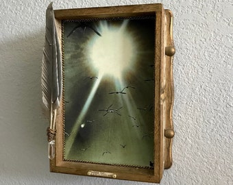 Mixed Media original Artwork constructed with reprposed vintage music box,photograph feather,crystal and found objects