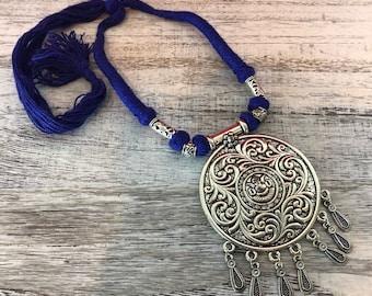 Sun Necklace, Oxidized Silver, Rajasthani, Indian Jewelry, Tribal Jewelry , Ethnic Jewelry, Hippie Jewelry, Boho Necklace, Tribal Necklace