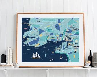Map of La Rochelle art print