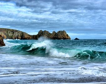 Waves crossing on a Cornish beach