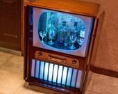 TV Bar - Vintage Remote-Contol Sound Activated LED Lighting Liquor Cabinet