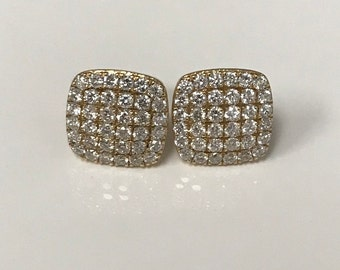 14K Yellow Gold Square Trio Of NY Diamond Pave Earrings