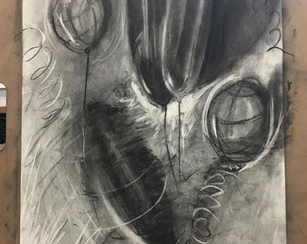 various drawings (charcoal and pencil)