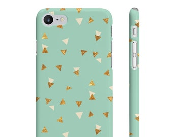 Mint And Gold Stars Triangle Phone Case  Iphone Case  Samsung Phone Case  Bright Phone Case  Durable Case