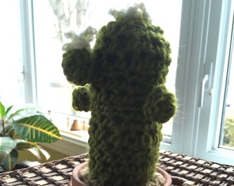 Small decorative flowers crocheted cactus