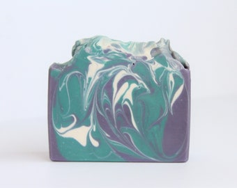 Blushing Orchid swirl cold process soap