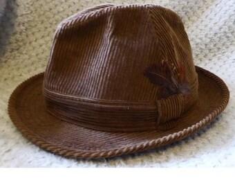 5c9b2f7de16 Vintage Dunn   Co Trilby Brown Corduroy Size 6 3 4   55