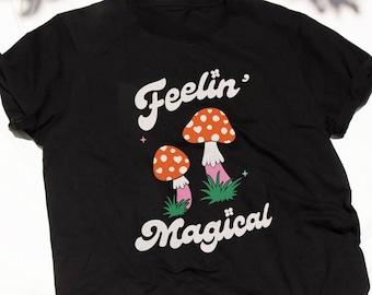 Feelin' Magical Black tshirt | Retro tee shirt | Magic Mushrooms | Graphic tee | Vintage Style | Flower Power | Feminist Shirt