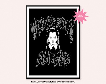 Wednesday Addams Goth inspired Death Metal Art Print   The Addams Family   Halloween Spooky Horror 90s Classic Poster Christina Ricci
