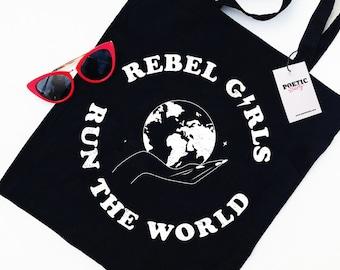 Rebel Girls Run The World Tote Bag | Feminist Tote | Riot Grrrl | Girl Power | Eco Friendly | Organic & Vegan Inks | Feminism | Gift