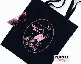 MUNA Silk Chiffon inspired Rollerblades tote bag   Phoebe Bridgers   LGBTQ+ Equality Gay Rights Pink Gift Retro Skate Organic bag
