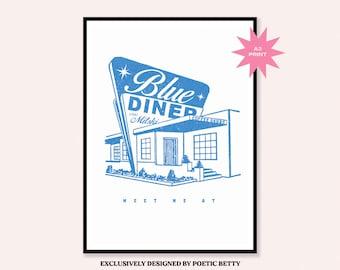 Old Friend Mitski inspired Blue Diner Art Print   Nobody   Music Band Merch MITSKI Poster   Makeout Creek   50s A Pearl Vintage Decor
