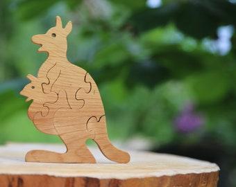 Eco toys Wooden toys Wooden kangaroo Wooden animals Wooden puzzle Waldorf wooden toys Waldorf gift Kids gift toy Montessori toy
