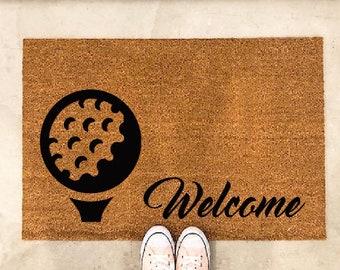 Door Mat   Golf Lover  Doormat   Welcome Mat   Custom Door Mat   Welcome Rug Front  Porch Rug Custom Doormat Golf Gift Golf Rug Golf Mat