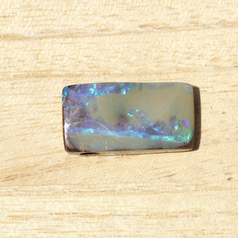 22 x12mm 19ct Side drilled Australian natural boulder opal with hole for pendant