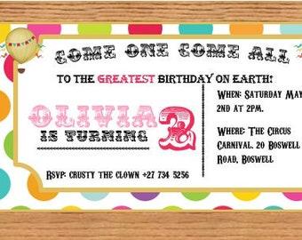 Circus Carnival Theme - Instant Digital Download - Invitation