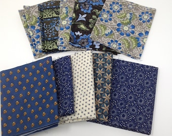10 Pack Bundle Fat Quarters blue Cotton Fabric