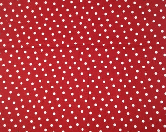 Per Yard Red with white polka Dots Fabric
