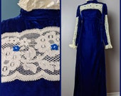 Vintage 60s 70s Royal Blue Velvet and Floral Lace Renaissance Medieval Victorian Revival Gunne Sax Style Dress