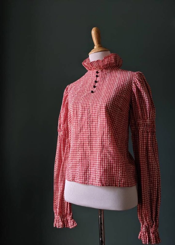 Vintage 70s Red and White Gingham Cotton Ruffle Bl