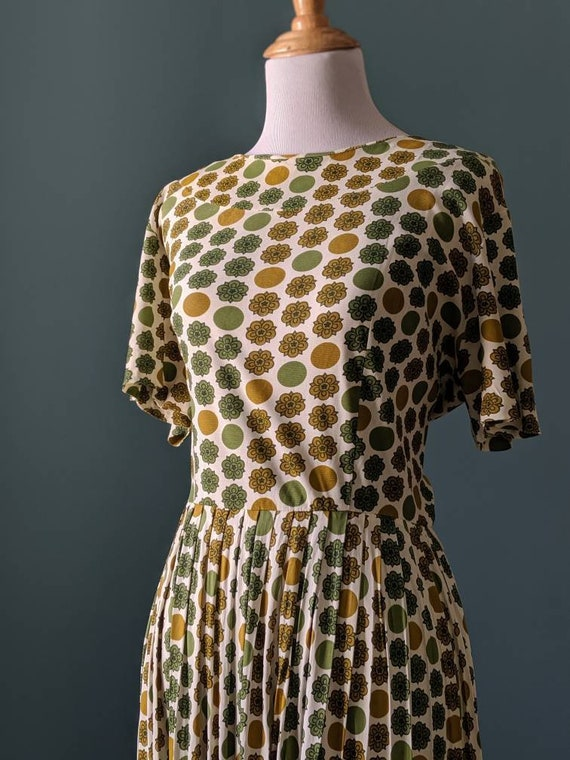 Vintage 50s 60s Mustard Yellow Green Floral Polka