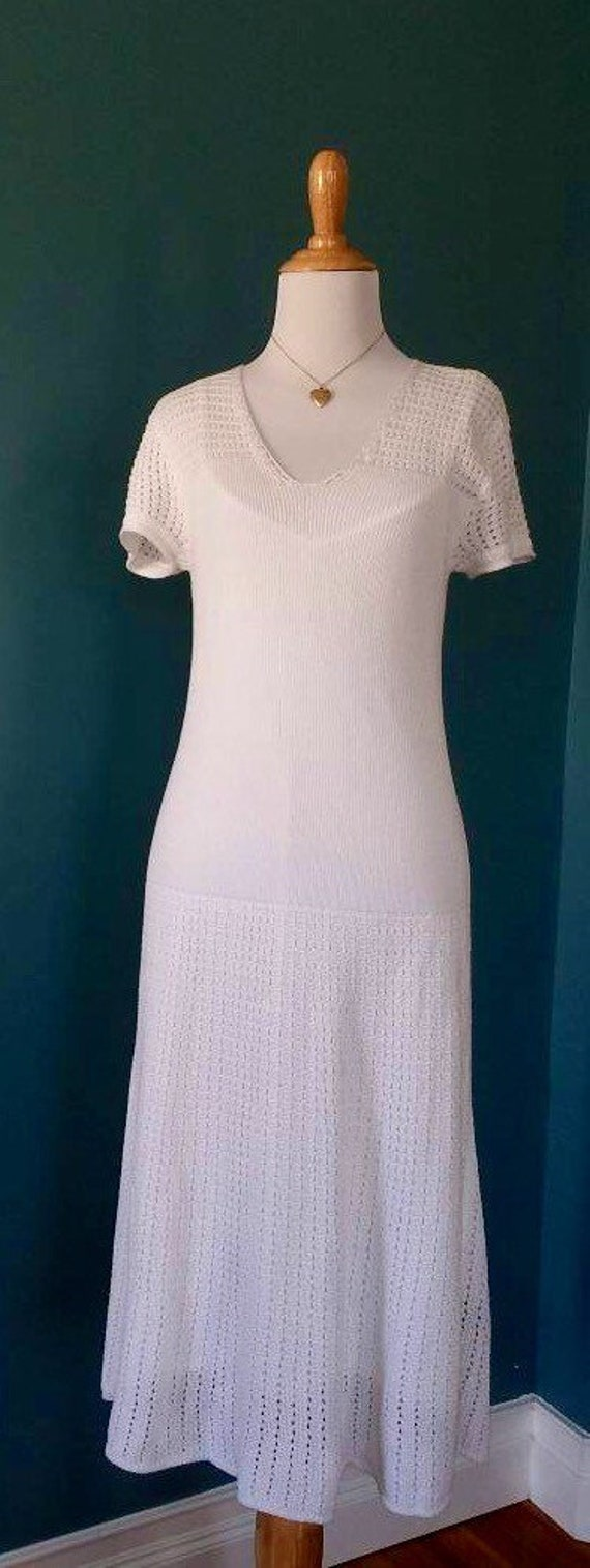 Vintage 20s // 30s // 40s Style White Knit Dress - image 7