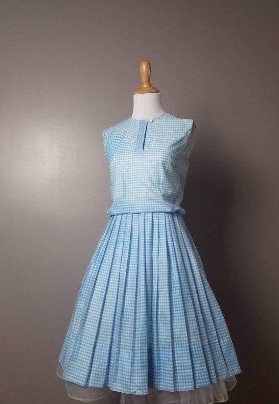 50s / 60s Vintage Gingham Blue / Blue and White Pi