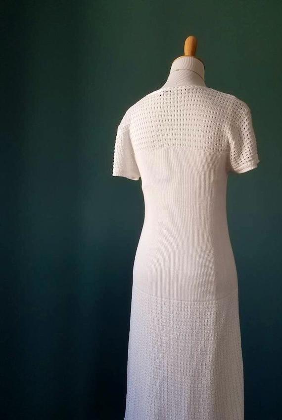 Vintage 20s // 30s // 40s Style White Knit Dress - image 2