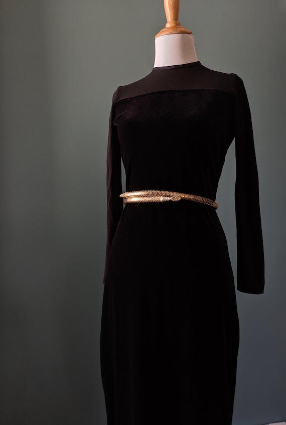 90s Vintage Gothic Vampy Black Velvet Black Mesh G