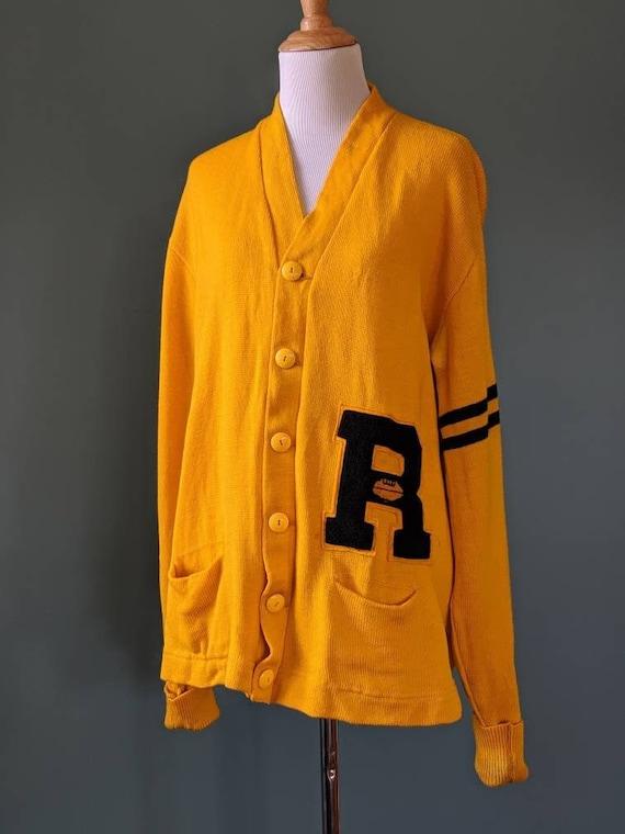 Vintage 40s Unisex Varsity Letterman Wool Yellow a