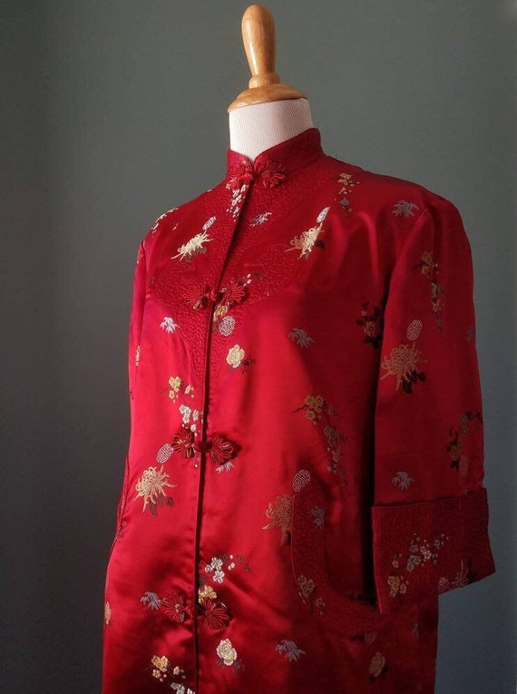 Vintage 40s / 50s/ 60s Red Asian Duster / Robe/ Dr