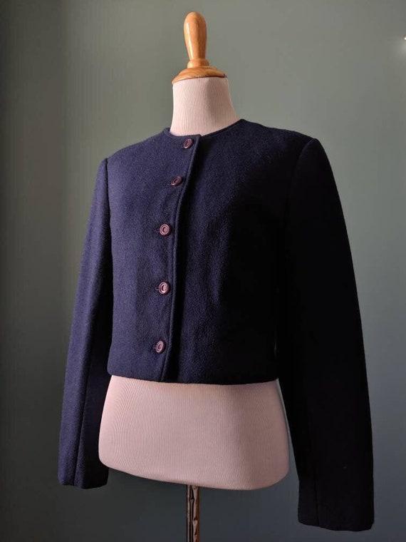 Vintage 40's style  Pendleton Navy Blue Wool Cropp