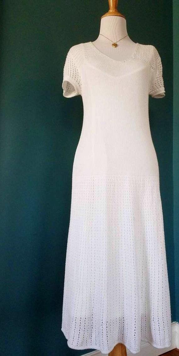 Vintage 20s // 30s // 40s Style White Knit Dress - image 3