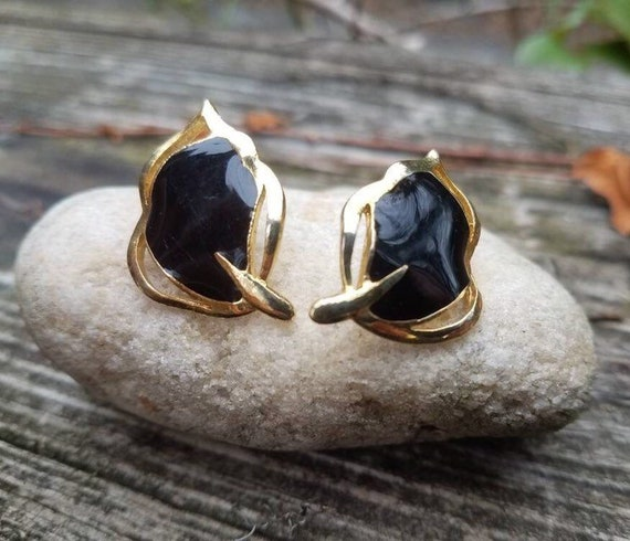 ribbon earrings 17mm  0.6 long studs,gold plated white  black stone stunning vintage 80s ribbon earrings with white and black stones