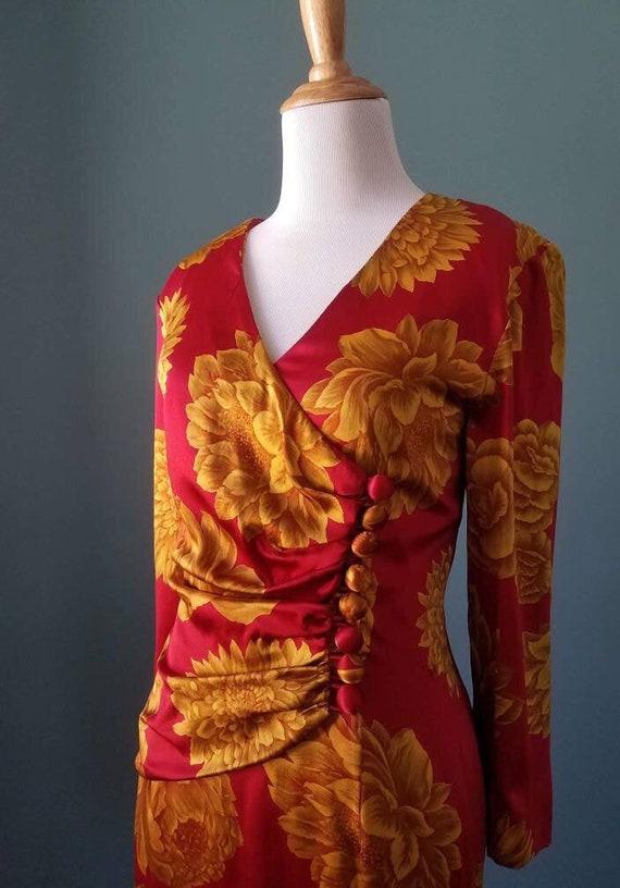 Vintage 40s Floral Silk Dress/ Vintage 80s Silk Fl