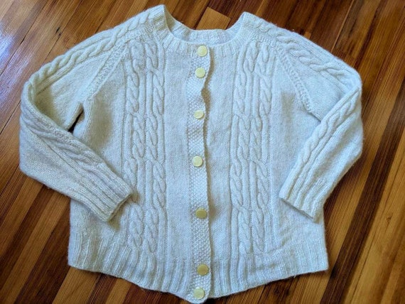 Vintage 40s 50s Cable Knit Wool Cardigan Sweater