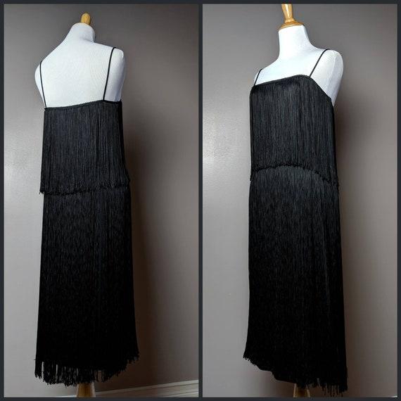 Vintage 80s 90s Black Gogo Flapper Tassel Fringe D