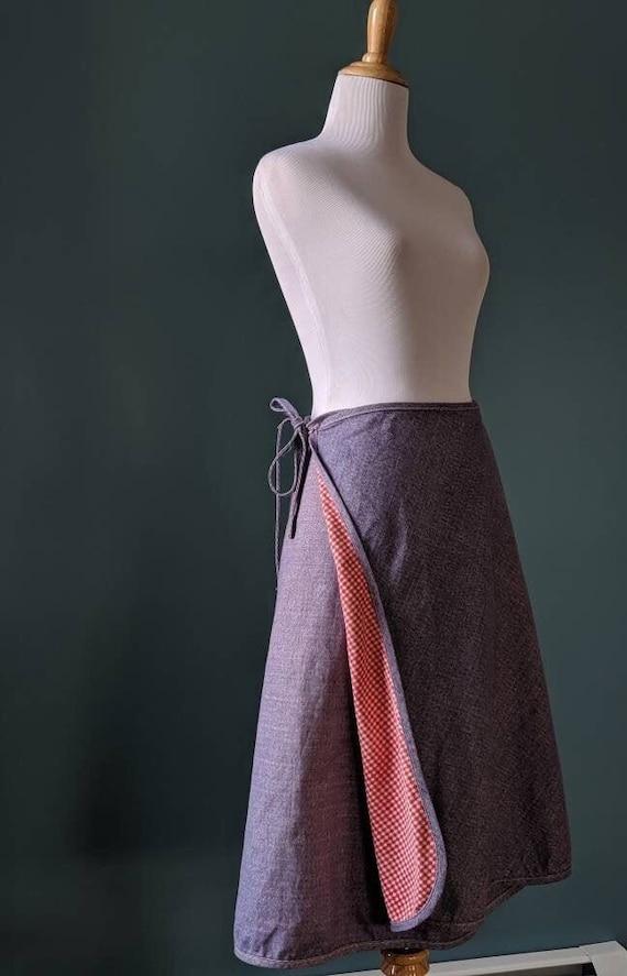 Vintage 70s Denim and Gingham Wrap Skirt