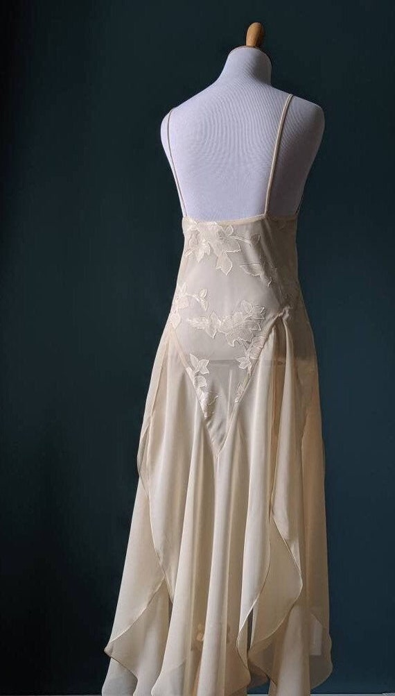 Vintage Cream Floral Lingerie Nightgown
