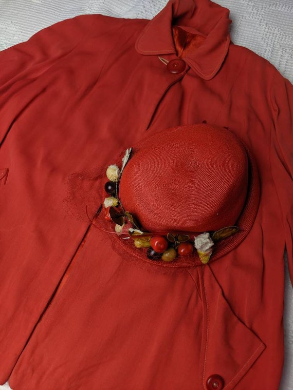 Vintage 30s 40s Red Silk Lined Swing Jacket Coat