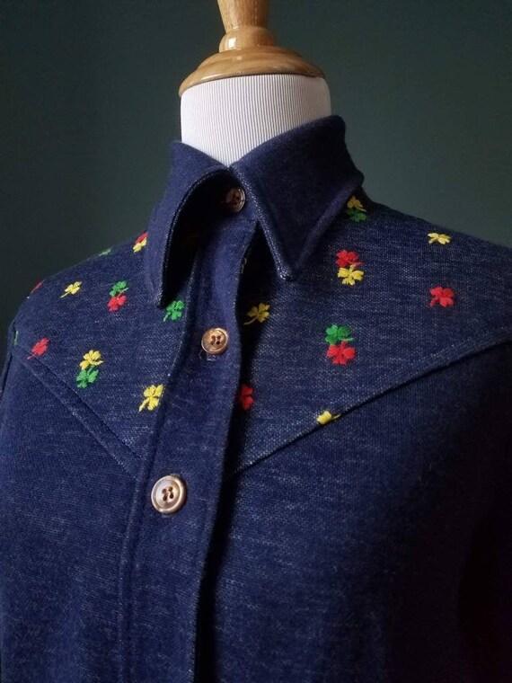 70's Denim Embroidered Clover Shirt