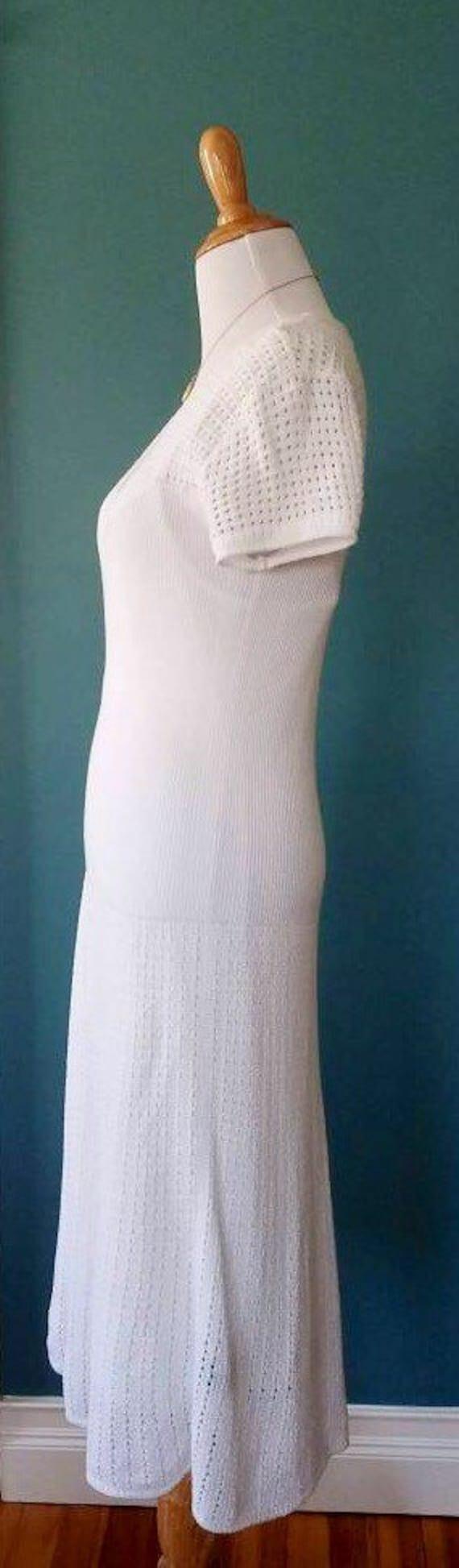 Vintage 20s // 30s // 40s Style White Knit Dress - image 5
