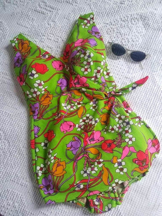 60s Vintage Floral Day Glow Swimsuit
