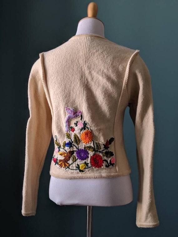 Vintage Austrian 90s Cream Wool Embroidered Flower
