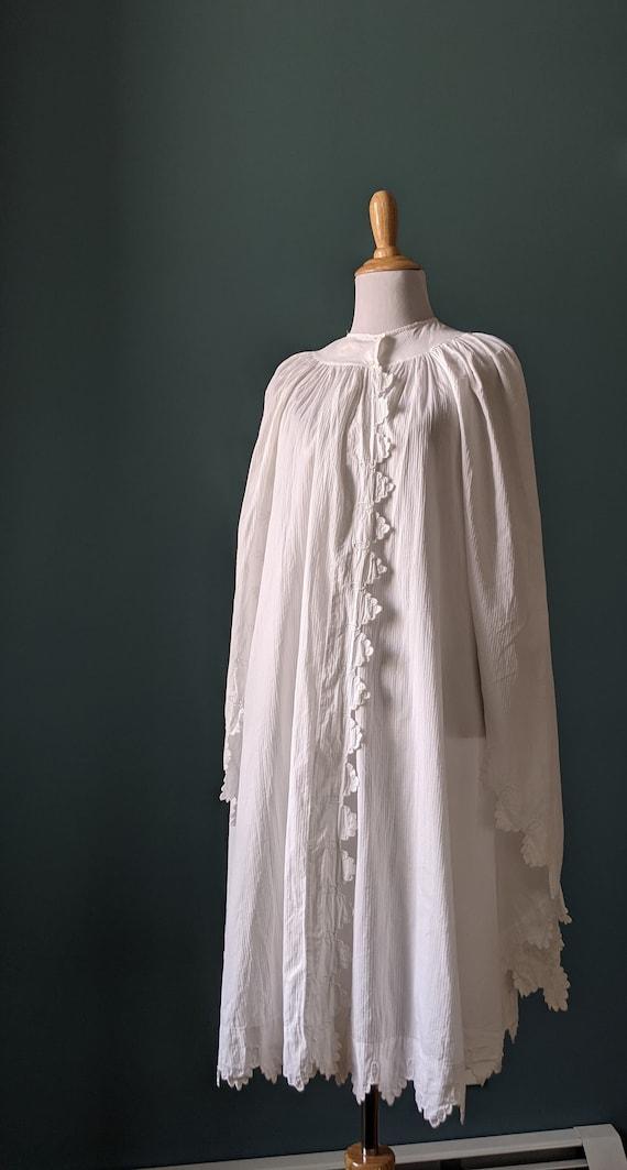 RARE Antique Victorian Edwardian White Cotton Emb… - image 3