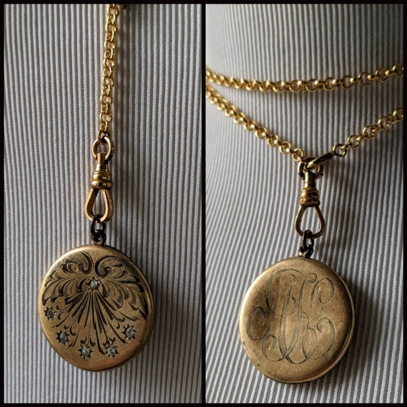 Victorian Edwardian Gold Double Sided Engraved Sto