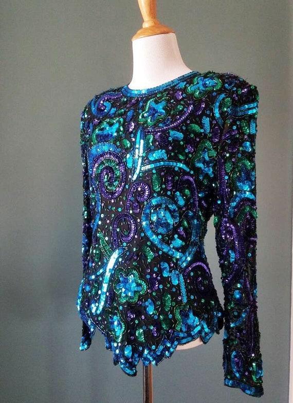Magical Silk Sequin Beaded blouse