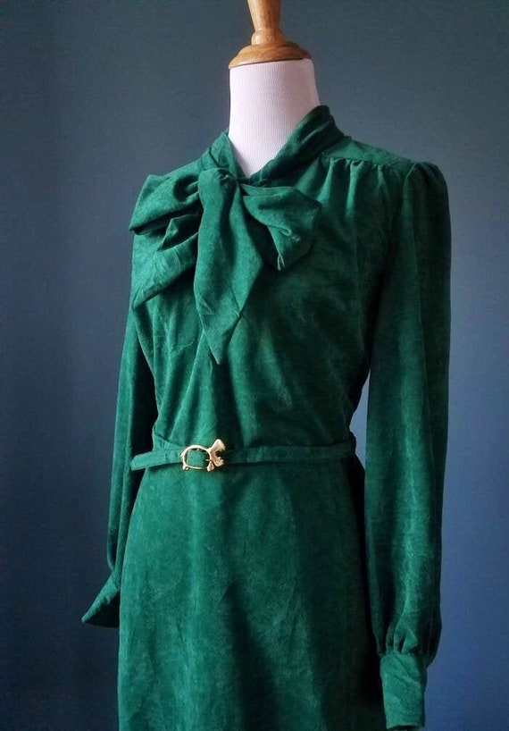 70s Vintage Green Velour Dress