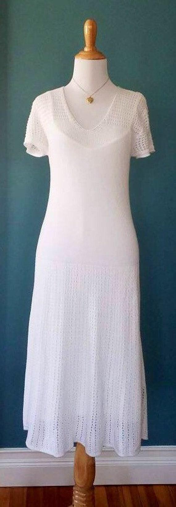 Vintage 20s // 30s // 40s Style White Knit Dress - image 4